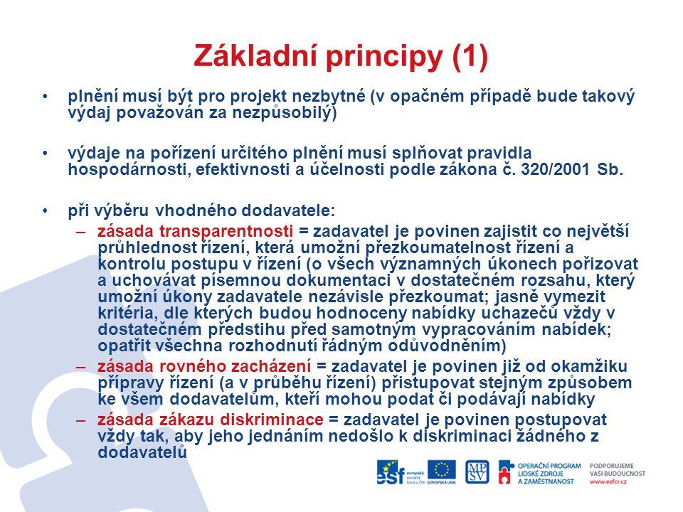 Základní principy (1) plnění musí být pro projekt nezbytné (v opačném případě bude takový výdaj považován za nezpůsobilý) výdaje na pořízení určitého plnění musí splňovat pravidla hospodárnosti, efektivnosti a účelnosti podle zákona č.