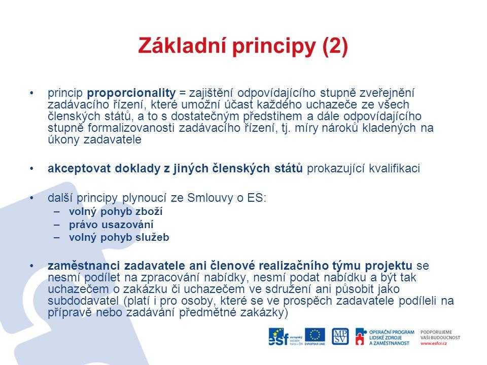Základní principy (2) princip proporcionality = zajištění odpovídajícího stupně zveřejnění zadávacího řízení, které umožní účast každého uchazeče ze všech členských států, a to s dostatečným předstihem a dále odpovídajícího stupně formalizovanosti zadávacího řízení, tj.