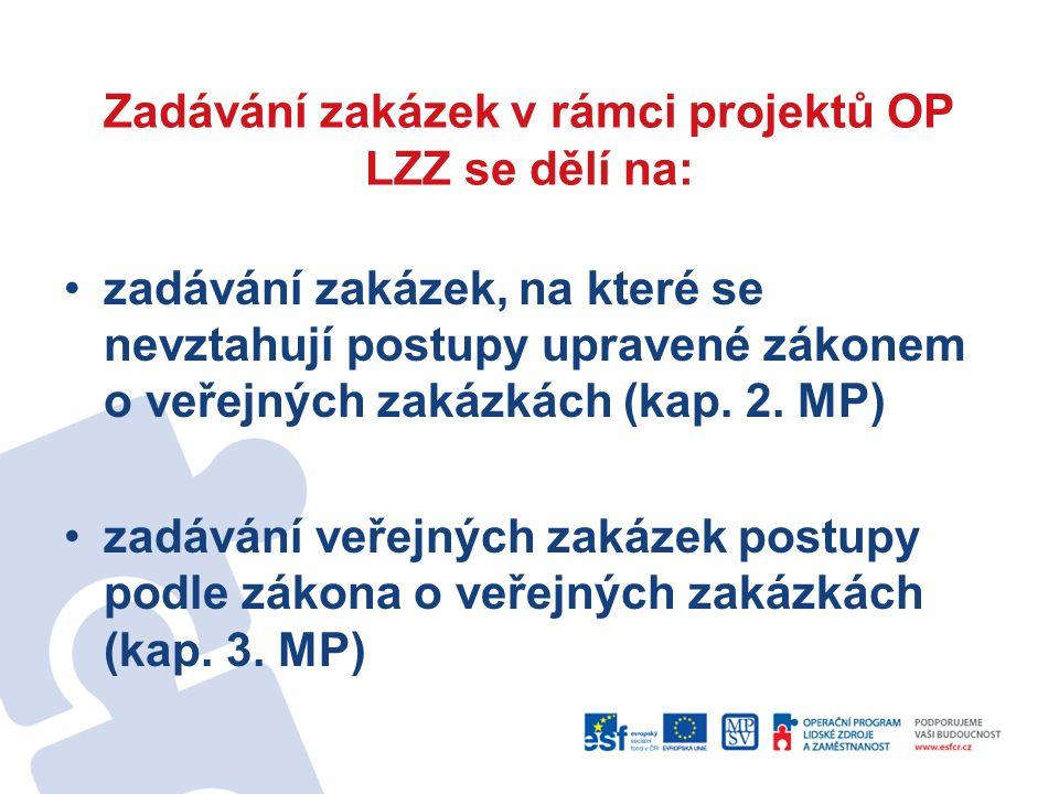Zadávání zakázek v rámci projektů OP LZZ se dělí na: zadávání zakázek, na které se nevztahují postupy upravené zákonem o veřejných zakázkách (kap.