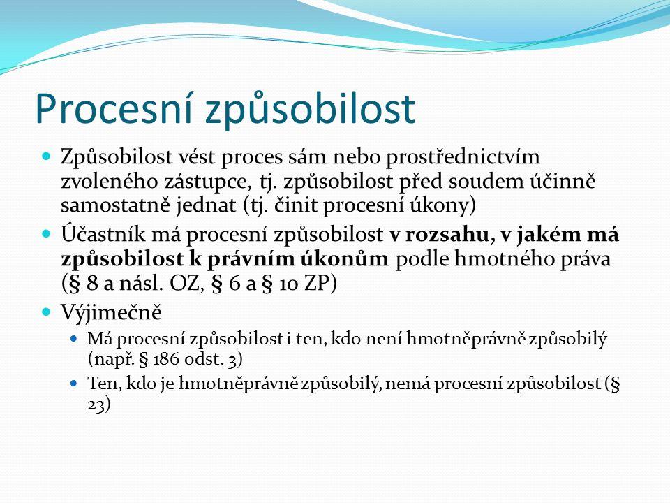 Zkoumání způsobilosti být účastníkem řízení Procesní podmínka Nedostatek způsobilosti být účastníkem je neodstranitelným nedostatkem procesní podmínky  zastavení řízení Dojde-li k její ztrátě v průběhu řízení, je v určitých případech možné procesní nástupnictví (§ 107)