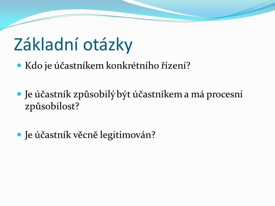 Základní otázky Kdo je účastníkem konkrétního řízení.