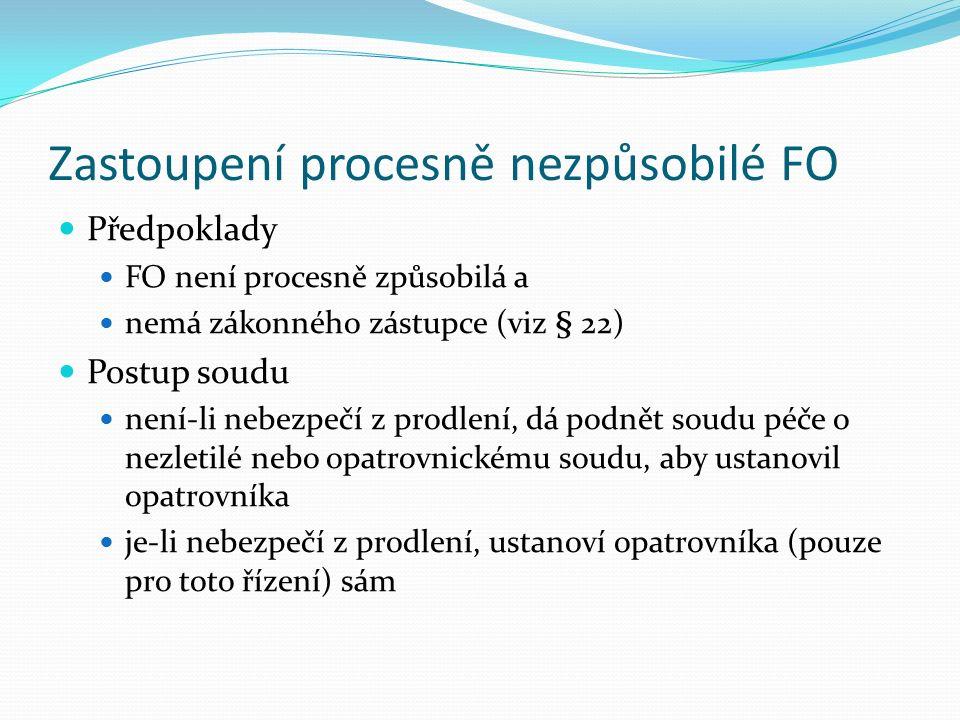 Případy zastoupení na základě rozhodnutí Zastoupení procesně nezpůsobilé FO a PO, za kterou nemá kdo jednat (§ 29 odst.