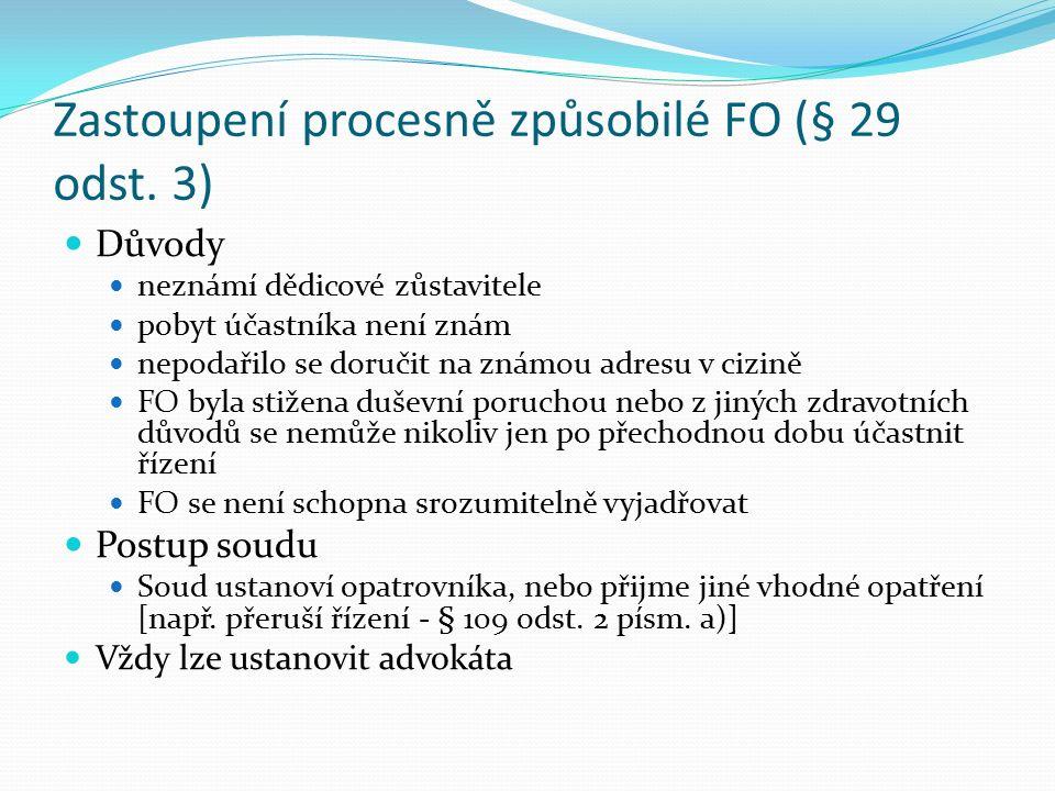 Zastoupení PO podle § 29 odst.