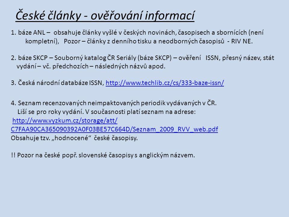 České články - ověřování informací 1.
