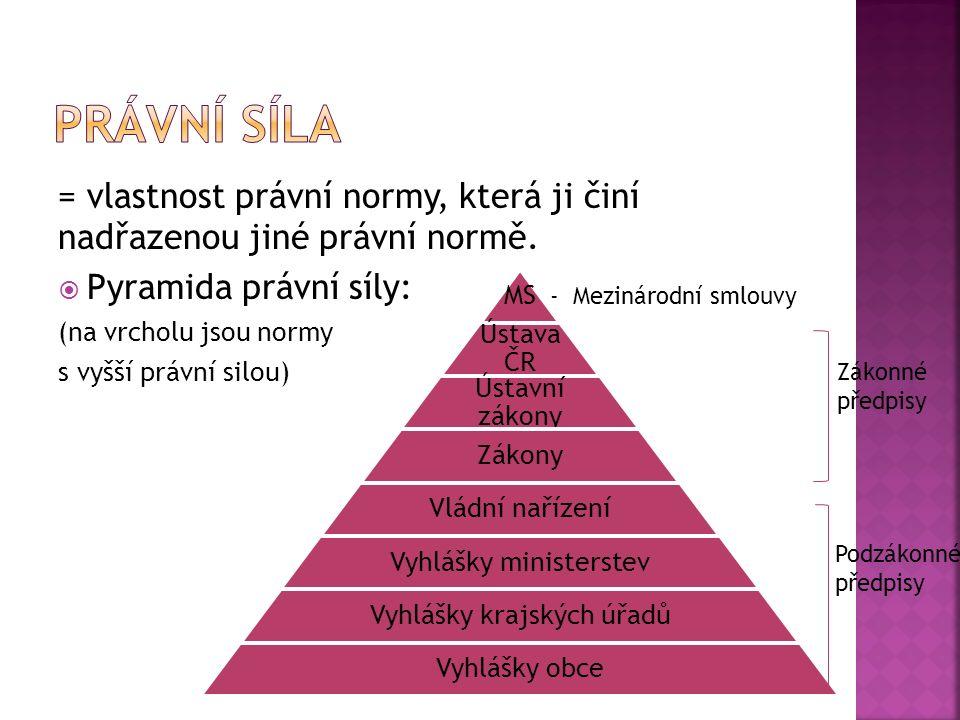 = vlastnost právní normy, která ji činí nadřazenou jiné právní normě.  Pyramida právní síly: (na vrcholu jsou normy s vyšší právní silou) MS Ústava Č
