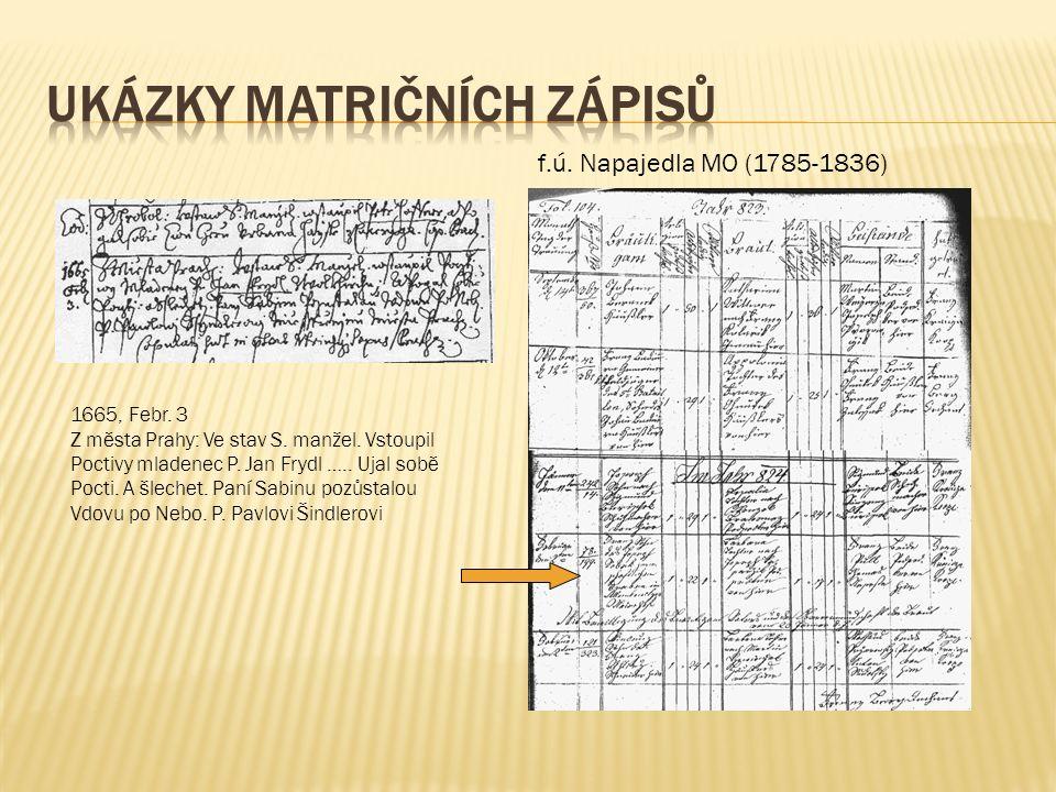 f.ú. Napajedla MO (1785-1836) 1665, Febr. 3 Z města Prahy: Ve stav S.
