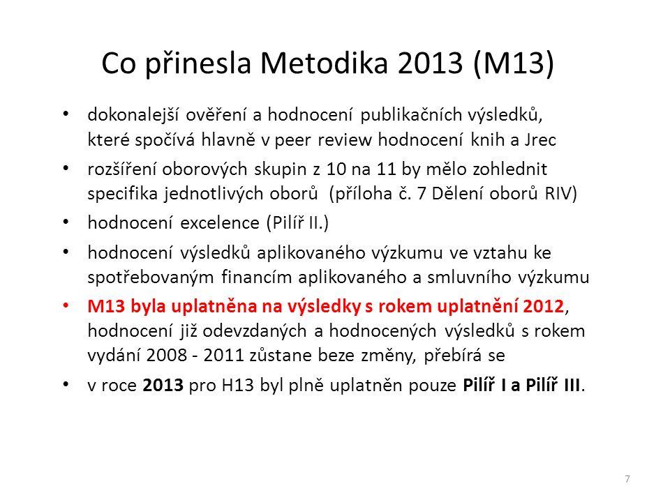 Co přinesla Metodika 2013 (M13) dokonalejší ověření a hodnocení publikačních výsledků, které spočívá hlavně v peer review hodnocení knih a Jrec rozšíření oborových skupin z 10 na 11 by mělo zohlednit specifika jednotlivých oborů (příloha č.