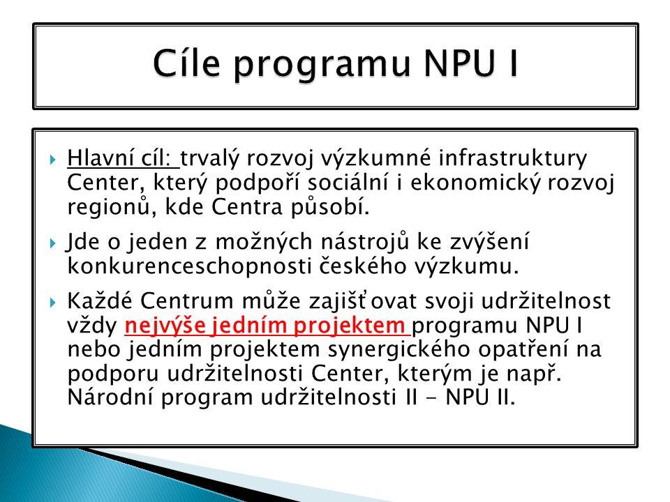  Hlavní cíl: trvalý rozvoj výzkumné infrastruktury Center, který podpoří sociální i ekonomický rozvoj regionů, kde Centra působí.  Jde o jeden z mož