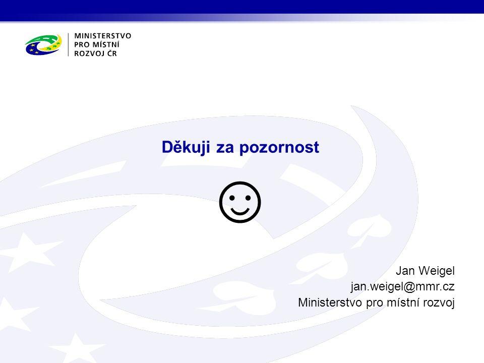 Děkuji za pozornost ☺ Jan Weigel jan.weigel@mmr.cz Ministerstvo pro místní rozvoj