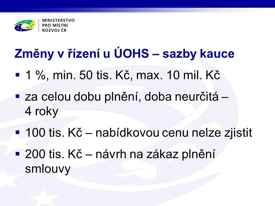 Změny v řízení u ÚOHS – sazby kauce  1 %, min. 50 tis.