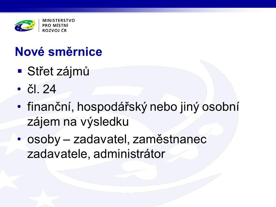 Nové směrnice  Střet zájmů čl.
