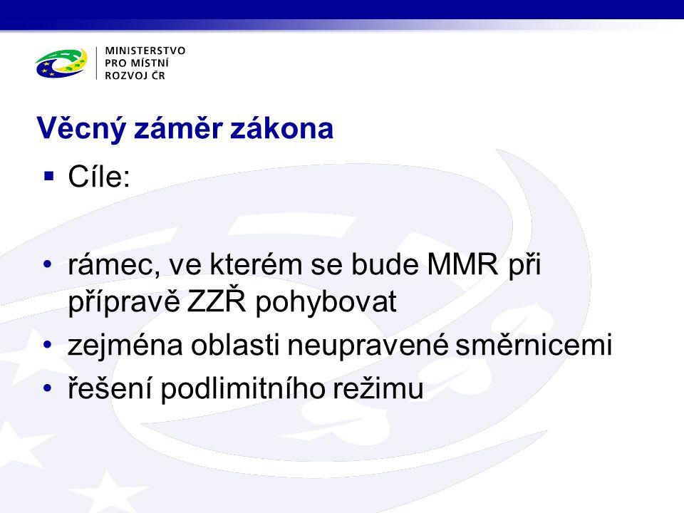 Věcný záměr zákona  Cíle: rámec, ve kterém se bude MMR při přípravě ZZŘ pohybovat zejména oblasti neupravené směrnicemi řešení podlimitního režimu