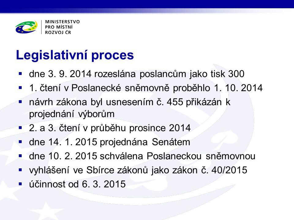 Legislativní proces  dne 3. 9. 2014 rozeslána poslancům jako tisk 300  1.