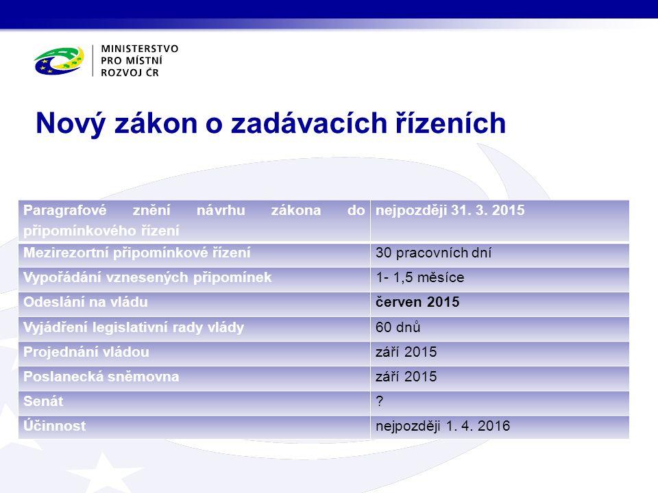 Nový zákon o zadávacích řízeních Paragrafové znění návrhu zákona do připomínkového řízení nejpozději 31.