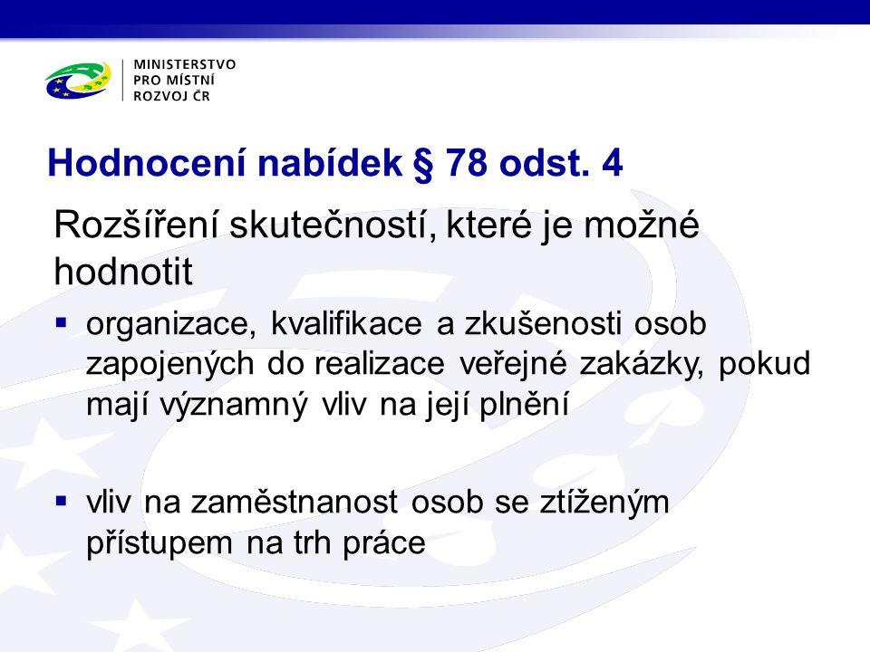 Hodnocení nabídek § 78 odst.