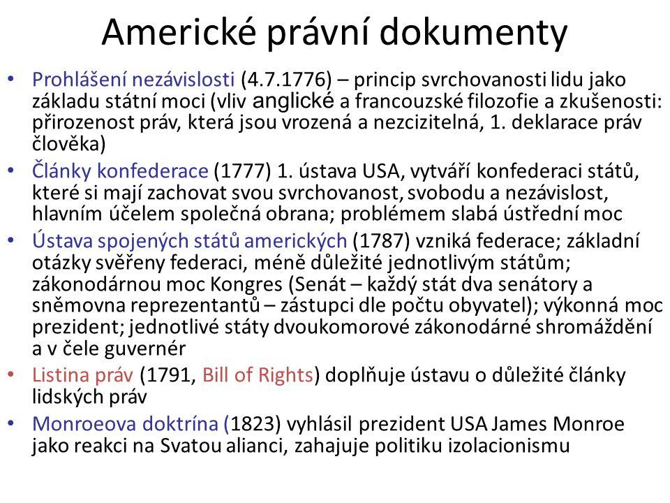 Americké právní dokumenty Prohlášení nezávislosti (4.7.1776) – princip svrchovanosti lidu jako základu státní moci (vliv anglické a francouzské filozofie a zkušenosti: přirozenost práv, která jsou vrozená a nezcizitelná, 1.