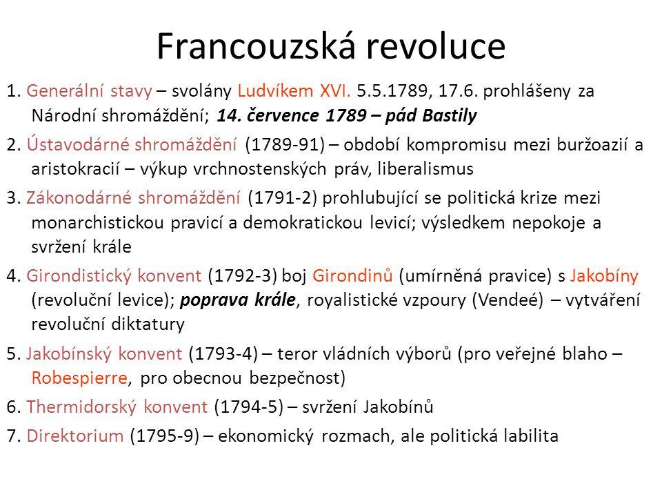 Francouzská revoluce 1. Generální stavy – svolány Ludvíkem XVI. 5.5.1789, 17.6. prohlášeny za Národní shromáždění; 14. července 1789 – pád Bastily 2.