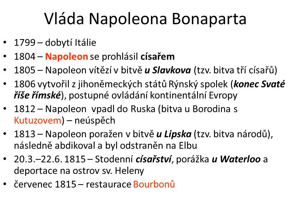 Vláda Napoleona Bonaparta 1799 – dobytí Itálie 1804 – Napoleon se prohlásil císařem 1805 – Napoleon vítězí v bitvě u Slavkova (tzv. bitva tří císařů)