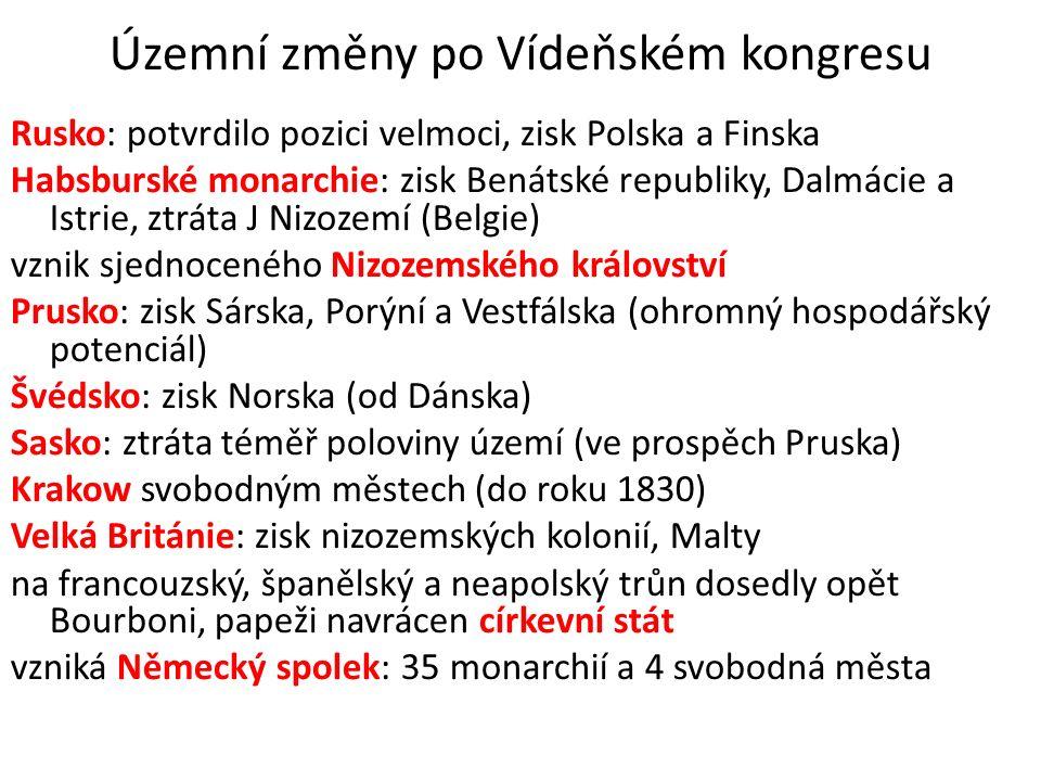 Územní změny po Vídeňském kongresu Rusko: potvrdilo pozici velmoci, zisk Polska a Finska Habsburské monarchie: zisk Benátské republiky, Dalmácie a Istrie, ztráta J Nizozemí (Belgie) vznik sjednoceného Nizozemského království Prusko: zisk Sárska, Porýní a Vestfálska (ohromný hospodářský potenciál) Švédsko: zisk Norska (od Dánska) Sasko: ztráta téměř poloviny území (ve prospěch Pruska) Krakow svobodným městech (do roku 1830) Velká Británie: zisk nizozemských kolonií, Malty na francouzský, španělský a neapolský trůn dosedly opět Bourboni, papeži navrácen církevní stát vzniká Německý spolek: 35 monarchií a 4 svobodná města