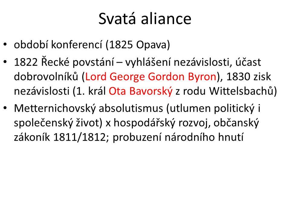 Svatá aliance období konferencí (1825 Opava) 1822 Řecké povstání – vyhlášení nezávislosti, účast dobrovolníků (Lord George Gordon Byron), 1830 zisk ne