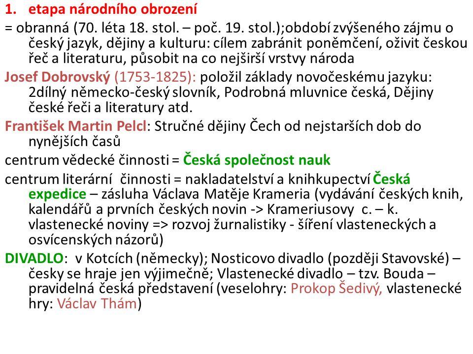 1.etapa národního obrození = obranná (70. léta 18. stol. – poč. 19. stol.);období zvýšeného zájmu o český jazyk, dějiny a kulturu: cílem zabránit poně