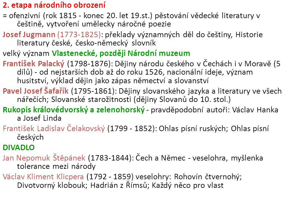 2. etapa národního obrození = ofenzivní (rok 1815 - konec 20. let 19.st.) pěstování vědecké literatury v češtině, vytvoření umělecky náročné poezie Jo