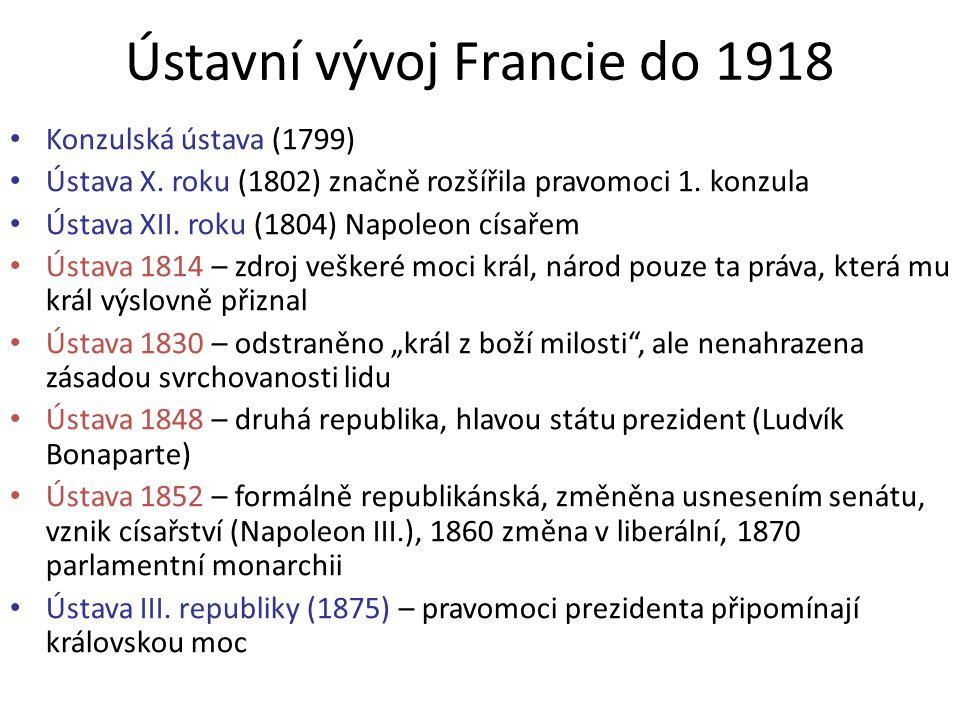 Ústavní vývoj Francie do 1918 Konzulská ústava (1799) Ústava X. roku (1802) značně rozšířila pravomoci 1. konzula Ústava XII. roku (1804) Napoleon cís