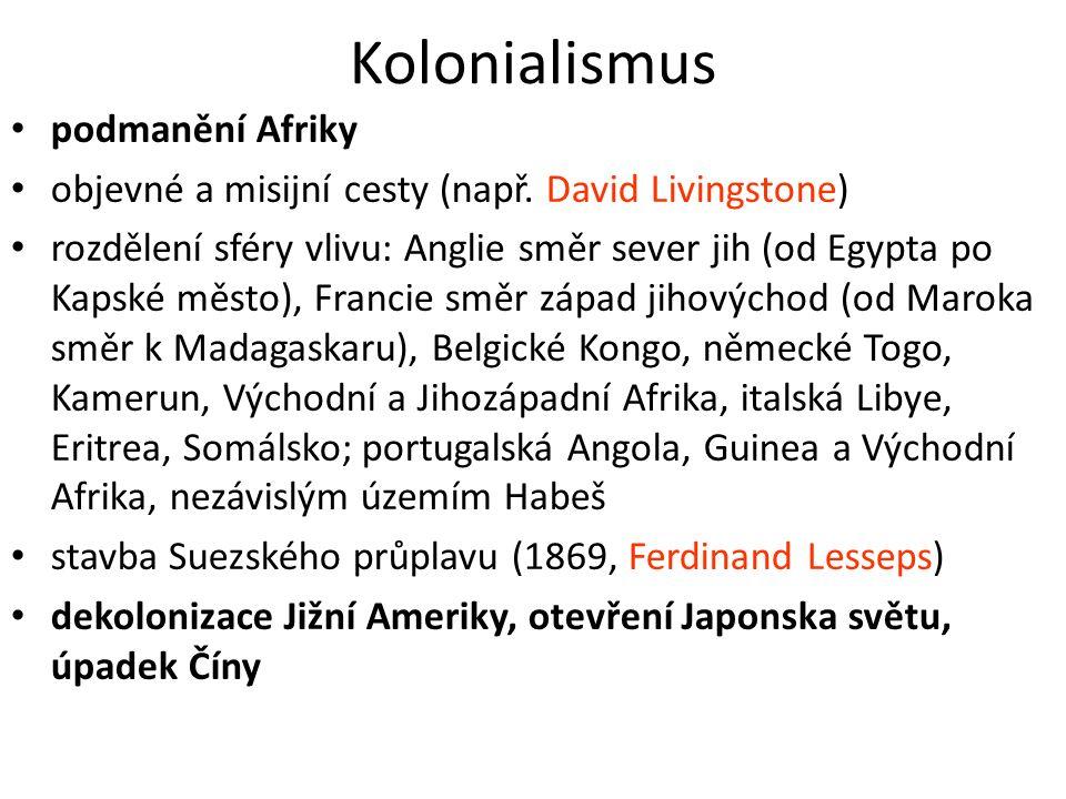 Kolonialismus podmanění Afriky objevné a misijní cesty (např. David Livingstone) rozdělení sféry vlivu: Anglie směr sever jih (od Egypta po Kapské měs