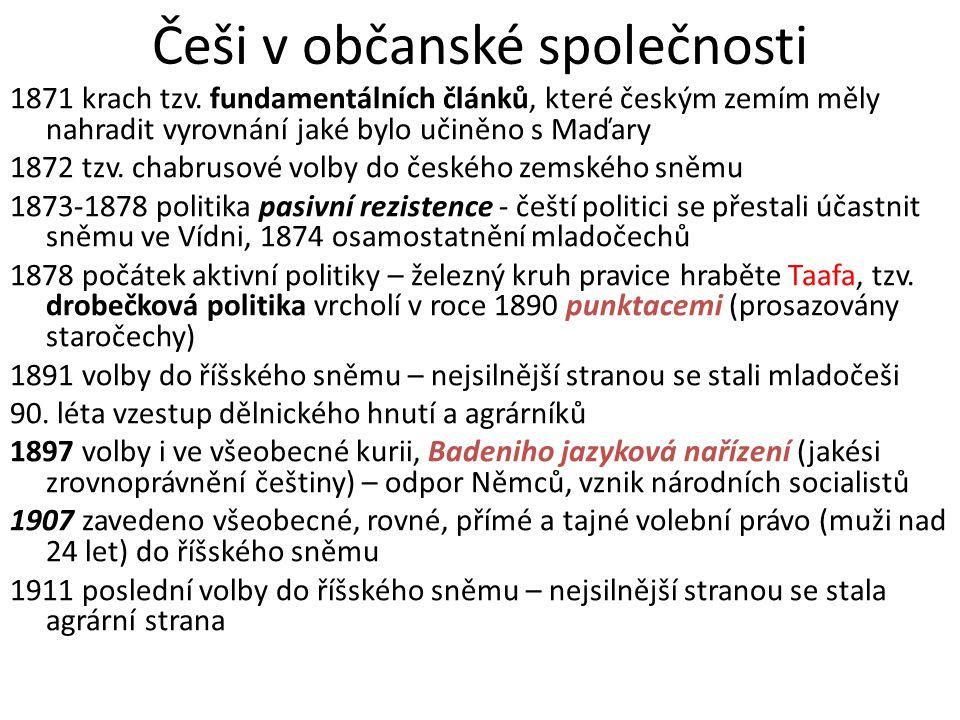 Češi v občanské společnosti 1871 krach tzv. fundamentálních článků, které českým zemím měly nahradit vyrovnání jaké bylo učiněno s Maďary 1872 tzv. ch