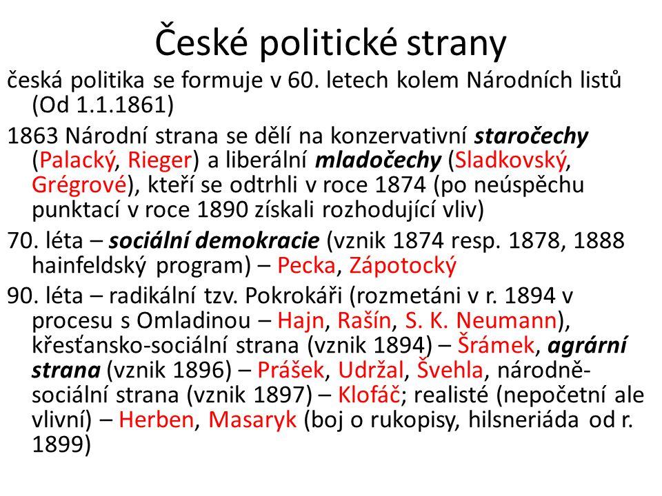 České politické strany česká politika se formuje v 60. letech kolem Národních listů (Od 1.1.1861) 1863 Národní strana se dělí na konzervativní staroče