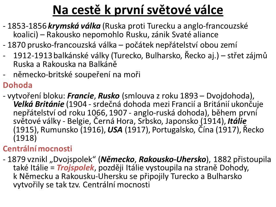 Na cestě k první světové válce - 1853-1856 krymská válka (Ruska proti Turecku a anglo-francouzské koalici) – Rakousko nepomohlo Rusku, zánik Svaté ali