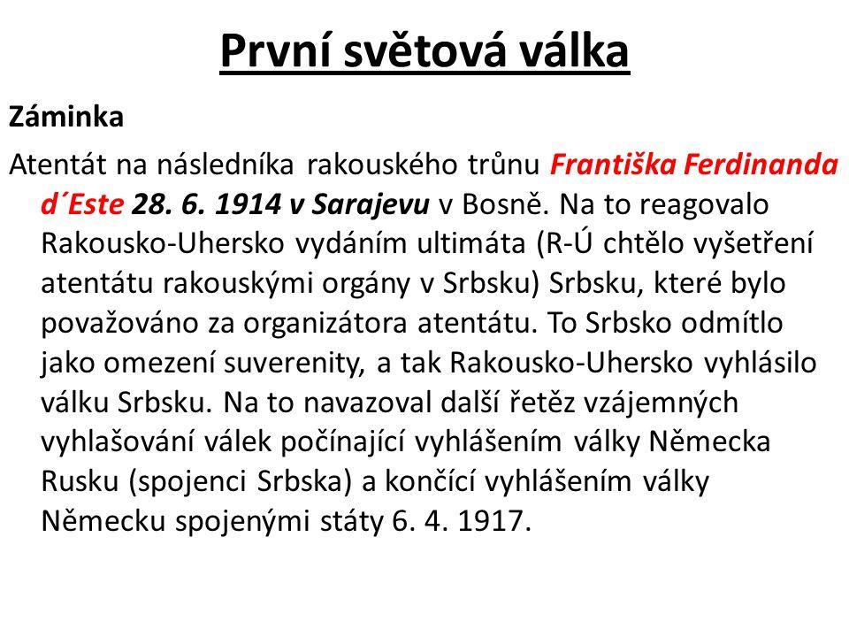 První světová válka Záminka Atentát na následníka rakouského trůnu Františka Ferdinanda d´Este 28. 6. 1914 v Sarajevu v Bosně. Na to reagovalo Rakousk