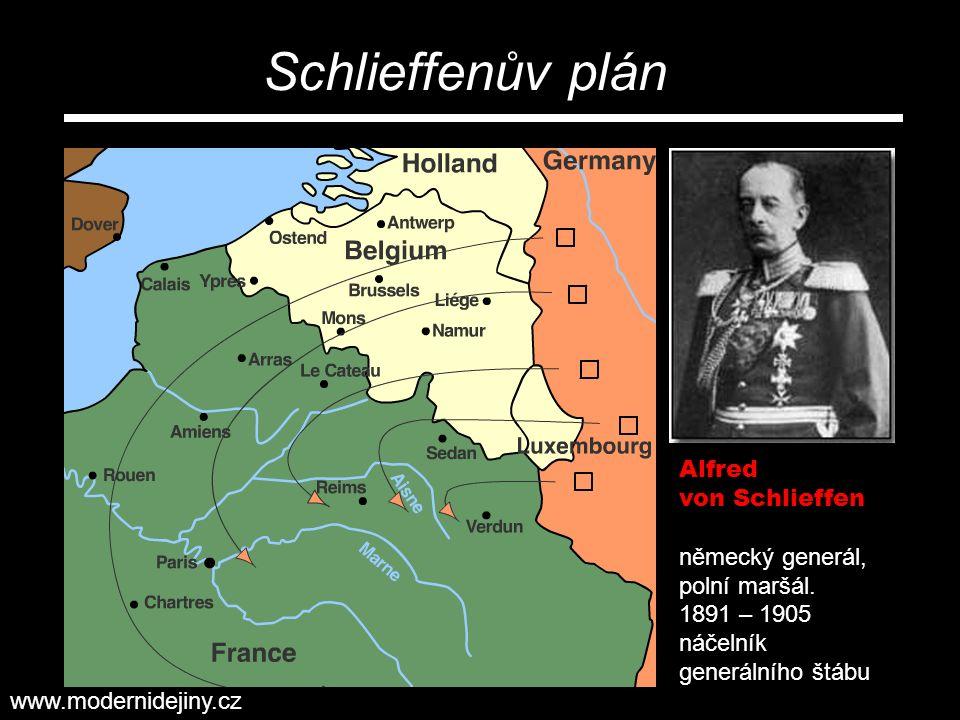 Alfred von Schlieffen německý generál, polní maršál. 1891 – 1905 náčelník generálního štábu Schlieffenův plán www.modernidejiny.cz