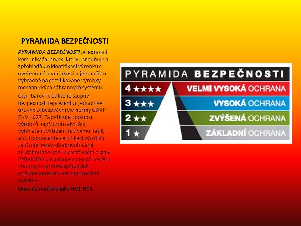 PYRAMIDA BEZPEČNOSTI PYRAMIDA BEZPEČNOSTI je jednotící komunikační prvek, který usnadňuje a zpřehledňuje identifikaci výrobků s ověřenou úrovní jakost