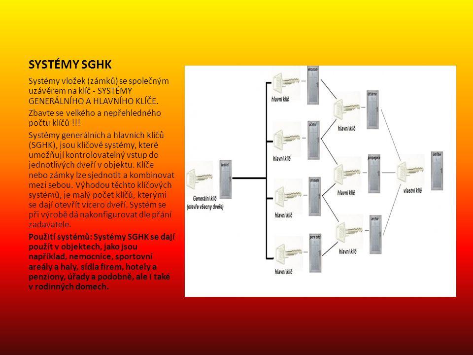 SYSTÉMY SGHK Systémy vložek (zámků) se společným uzávěrem na klíč - SYSTÉMY GENERÁLNÍHO A HLAVNÍHO KLÍČE.