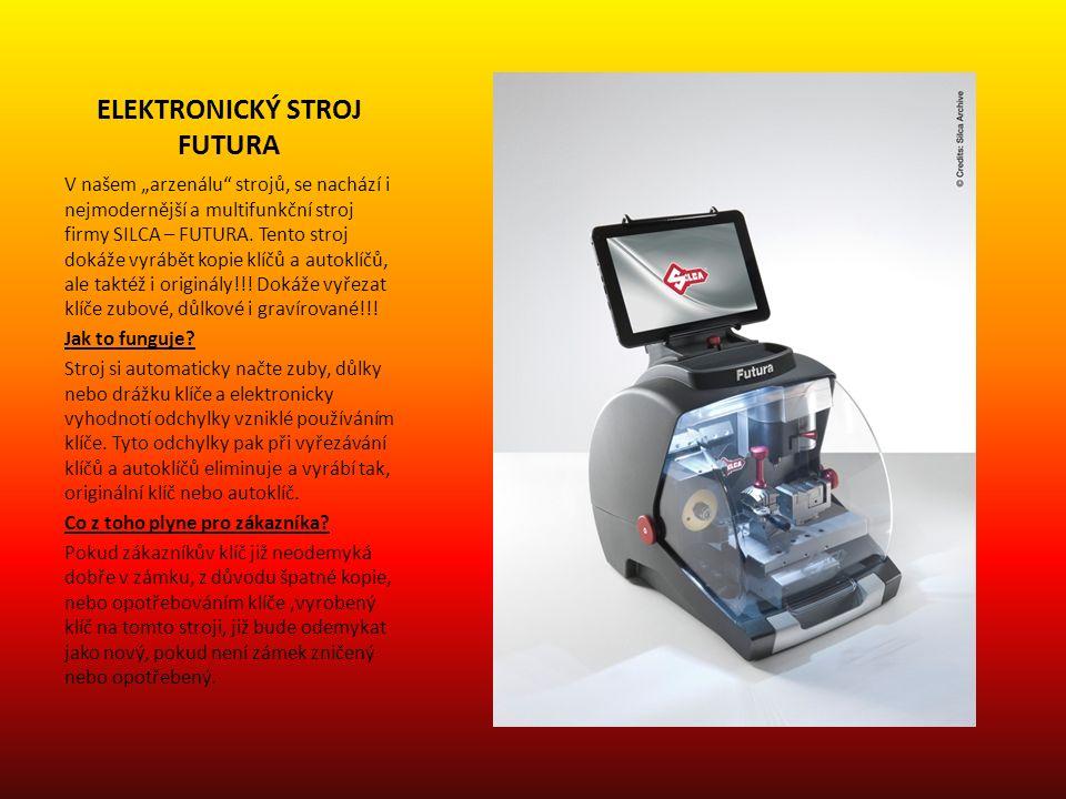 """ELEKTRONICKÝ STROJ FUTURA V našem """"arzenálu strojů, se nachází i nejmodernější a multifunkční stroj firmy SILCA – FUTURA."""