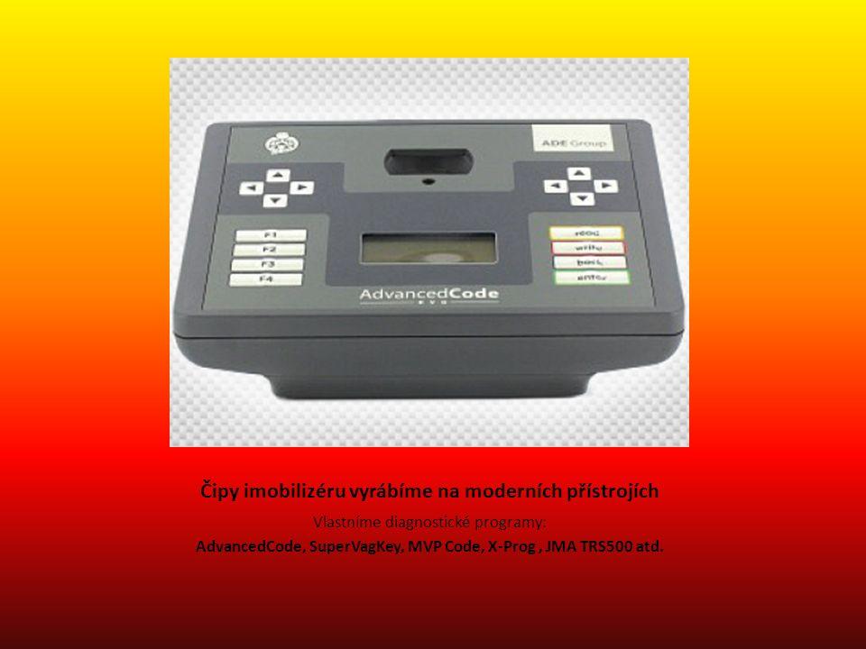 Čipy imobilizéru vyrábíme na moderních přístrojích Vlastníme diagnostické programy: AdvancedCode, SuperVagKey, MVP Code, X-Prog, JMA TRS500 atd.