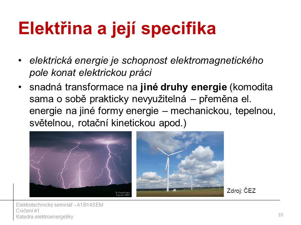 Elektřina a její specifika elektrická energie je schopnost elektromagnetického pole konat elektrickou práci snadná transformace na jiné druhy energie (komodita sama o sobě prakticky nevyužitelná – přeměna el.