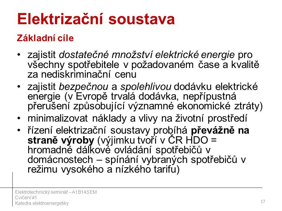 Elektrizační soustava Základní cíle zajistit dostatečné množství elektrické energie pro všechny spotřebitele v požadovaném čase a kvalitě za nediskriminační cenu zajistit bezpečnou a spolehlivou dodávku elektrické energie (v Evropě trvalá dodávka, nepřípustná přerušení způsobující významné ekonomické ztráty) minimalizovat náklady a vlivy na životní prostředí řízení elektrizační soustavy probíhá převážně na straně výroby (výjimku tvoří v ČR HDO = hromadné dálkové ovládání spotřebičů v domácnostech – spínání vybraných spotřebičů v režimu vysokého a nízkého tarifu) 17 Elektrotechnický seminář – A1B14SEM Cvičení #1 Katedra elektroenergetiky