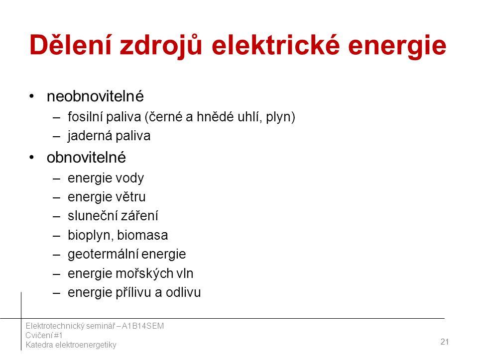 Dělení zdrojů elektrické energie neobnovitelné –fosilní paliva (černé a hnědé uhlí, plyn) –jaderná paliva obnovitelné –energie vody –energie větru –sluneční záření –bioplyn, biomasa –geotermální energie –energie mořských vln –energie přílivu a odlivu 21 Elektrotechnický seminář – A1B14SEM Cvičení #1 Katedra elektroenergetiky