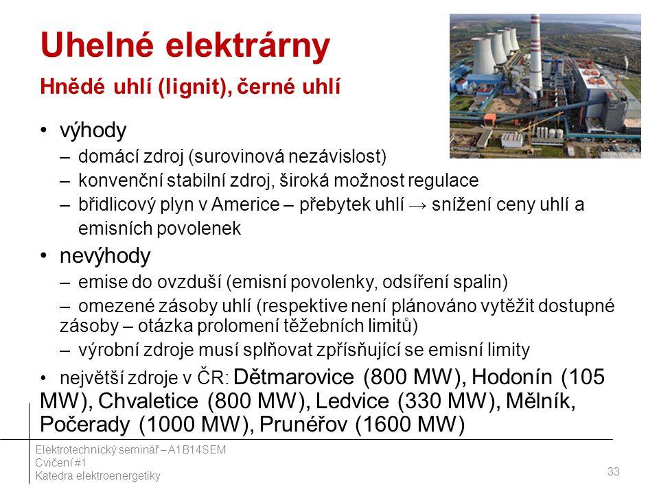Uhelné elektrárny Hnědé uhlí (lignit), černé uhlí výhody –domácí zdroj (surovinová nezávislost) –konvenční stabilní zdroj, široká možnost regulace –bř