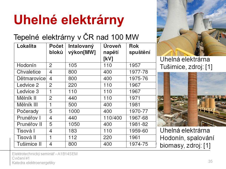 Uhelné elektrárny Tepelné elektrárny v ČR nad 100 MW 35 Elektrotechnický seminář – A1B14SEM Cvičení #1 Katedra elektroenergetiky Uhelná elektrárna Tušimice, zdroj: [1] Uhelná elektrárna Hodonín, spalování biomasy, zdroj: [1]