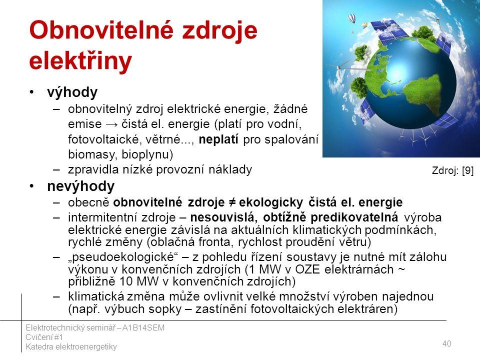 Obnovitelné zdroje elektřiny výhody –obnovitelný zdroj elektrické energie, žádné emise → čistá el. energie (platí pro vodní, fotovoltaické, větrné...,