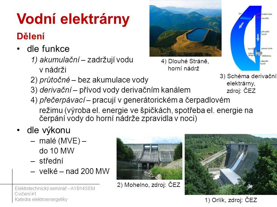 Vodní elektrárny Dělení dle funkce 1) akumulační – zadržují vodu v nádrži 2) průtočné – bez akumulace vody 3) derivační – přívod vody derivačním kanálem 4) přečerpávací – pracují v generátorickém a čerpadlovém režimu (výroba el.