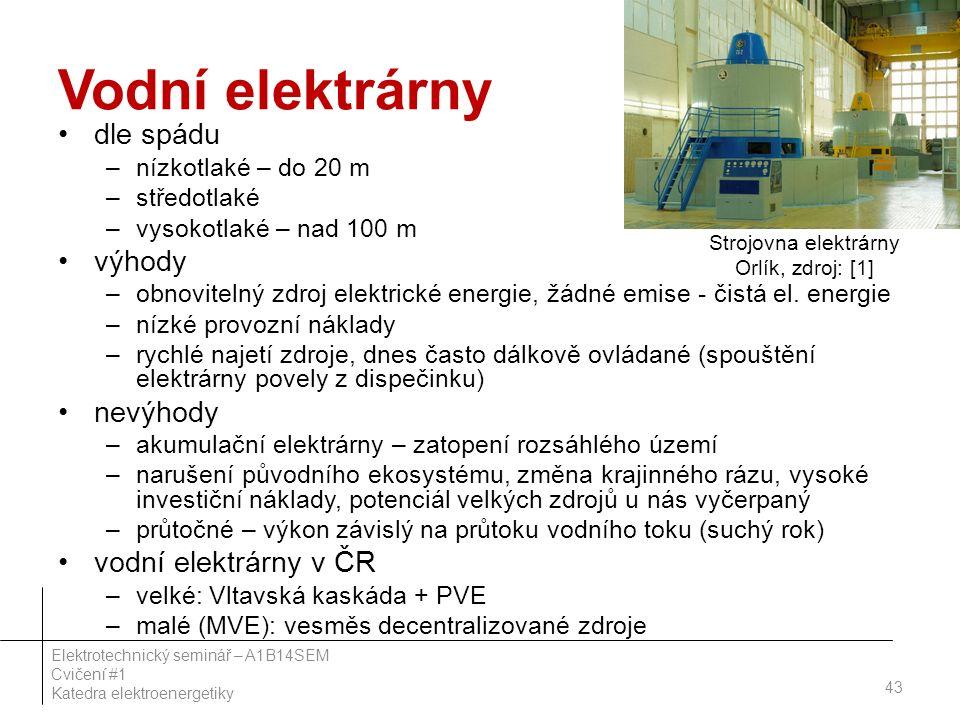 Vodní elektrárny dle spádu –nízkotlaké – do 20 m –středotlaké –vysokotlaké – nad 100 m výhody –obnovitelný zdroj elektrické energie, žádné emise - čistá el.