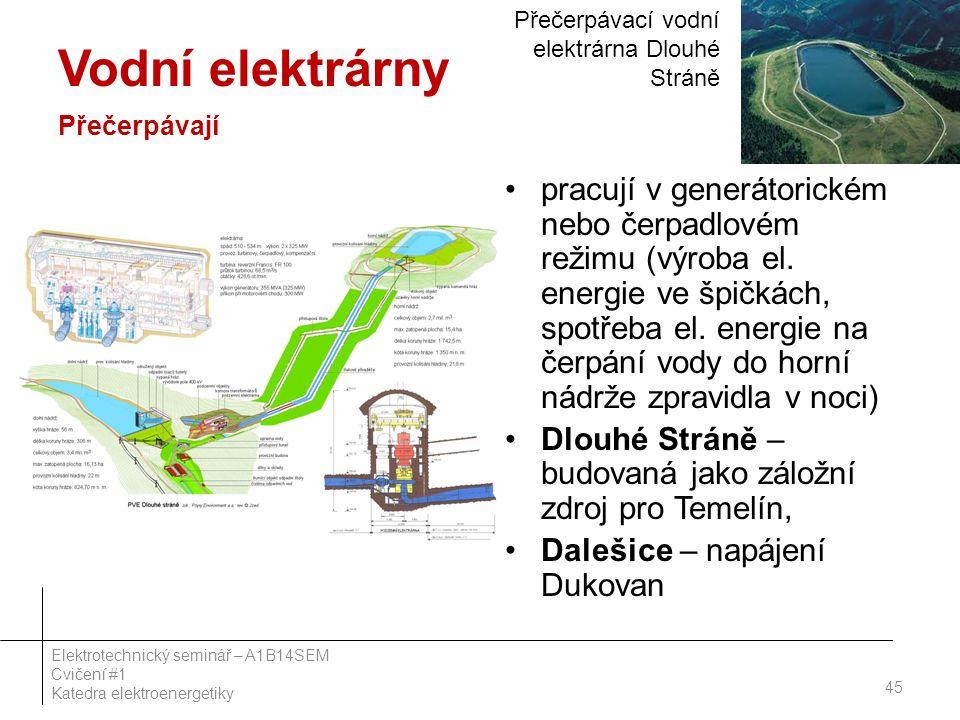 Vodní elektrárny Přečerpávají pracují v generátorickém nebo čerpadlovém režimu (výroba el. energie ve špičkách, spotřeba el. energie na čerpání vody d