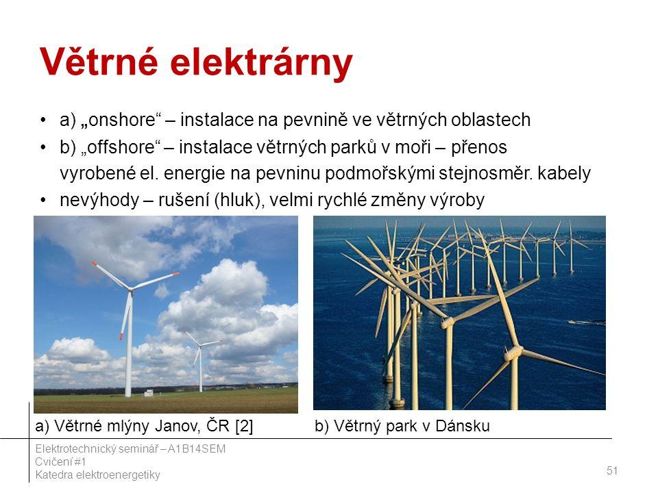 """Větrné elektrárny a) """" onshore – instalace na pevnině ve větrných oblastech b) """"offshore – instalace větrných parků v moři – přenos vyrobené el."""