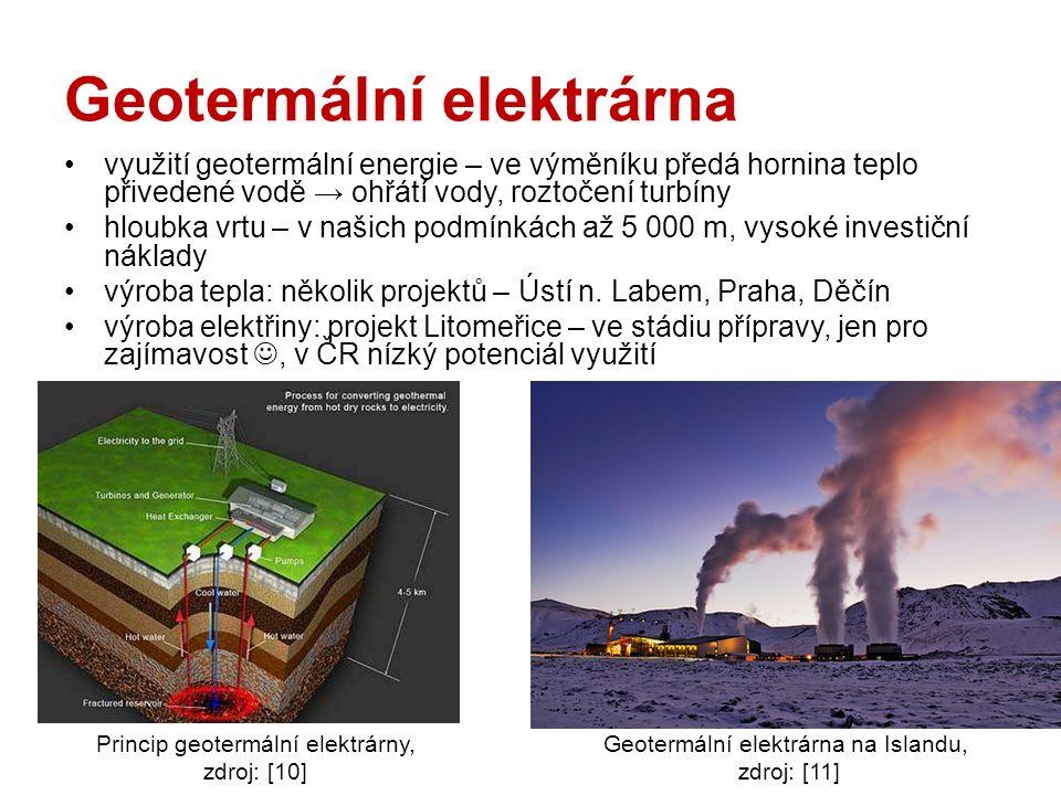 Geotermální elektrárna využití geotermální energie – ve výměníku předá hornina teplo přivedené vodě → ohřátí vody, roztočení turbíny hloubka vrtu – v našich podmínkách až 5 000 m, vysoké investiční náklady výroba tepla: několik projektů – Ústí n.