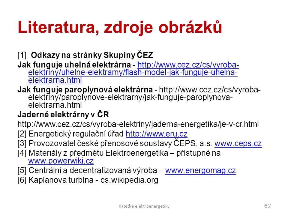 Literatura, zdroje obrázků [1] Odkazy na stránky Skupiny ČEZ Jak funguje uhelná elektrárna - http://www.cez.cz/cs/vyroba- elektriny/uhelne-elektrarny/flash-model-jak-funguje-uhelna- elektrarna.htmlhttp://www.cez.cz/cs/vyroba- elektriny/uhelne-elektrarny/flash-model-jak-funguje-uhelna- elektrarna.html Jak funguje paroplynová elektrárna - http://www.cez.cz/cs/vyroba- elektriny/paroplynove-elektrarny/jak-funguje-paroplynova- elektrarna.html Jaderné elektrárny v ČR http://www.cez.cz/cs/vyroba-elektriny/jaderna-energetika/je-v-cr.html [2] Energetický regulační úřad http://www.eru.czhttp://www.eru.cz [3] Provozovatel české přenosové soustavy ČEPS, a.s.