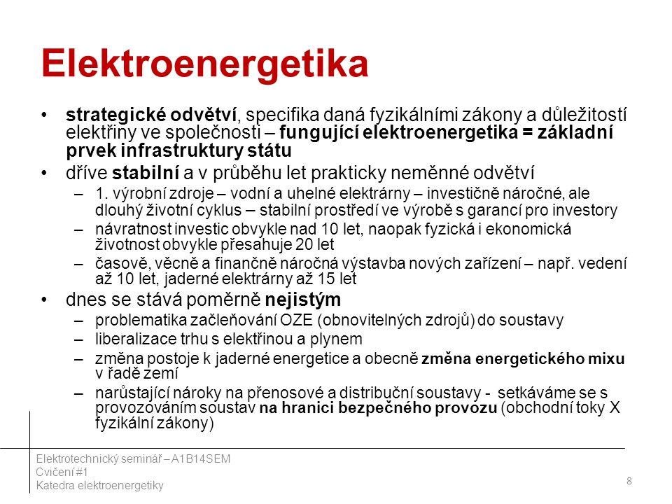 Elektroenergetika strategické odvětví, specifika daná fyzikálními zákony a důležitostí elektřiny ve společnosti – fungující elektroenergetika = základ